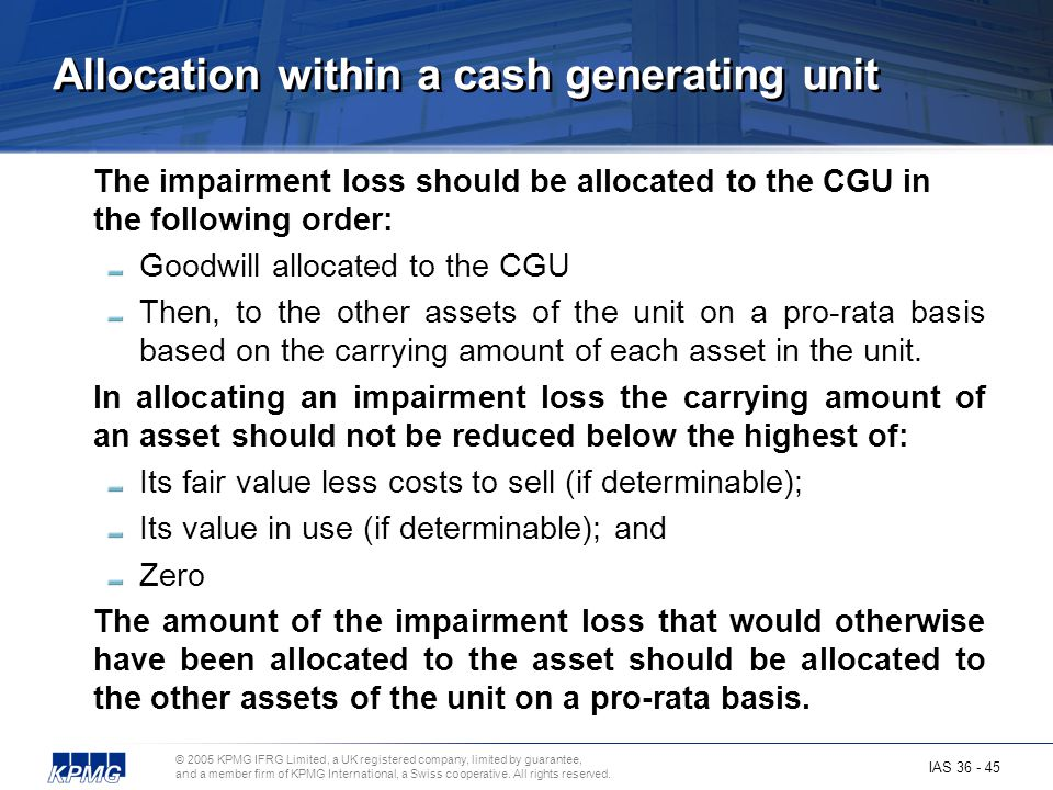 Allocation within a cash generating unit