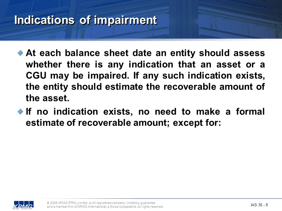 Indications of impairment