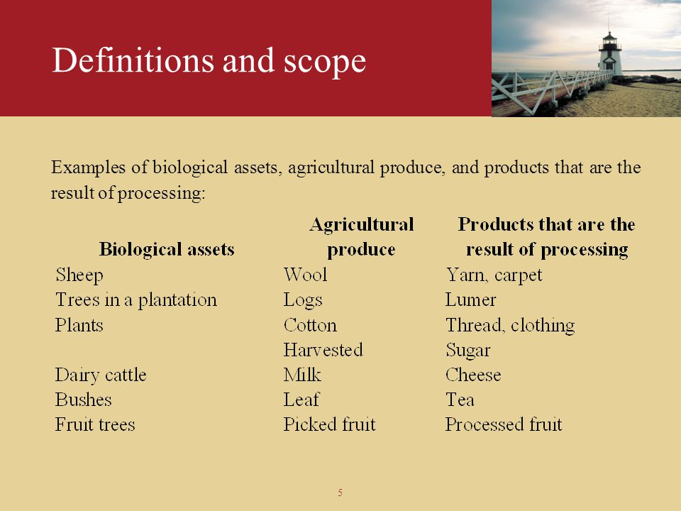 Definitions and scope Examples of biological assets, agricultural produce, and products that are the result of processing: