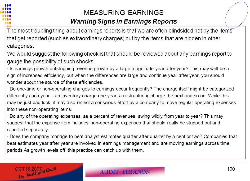 Warning Signs in Earnings Reports