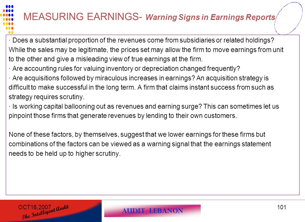 MEASURING EARNINGS- Warning Signs in Earnings Reports