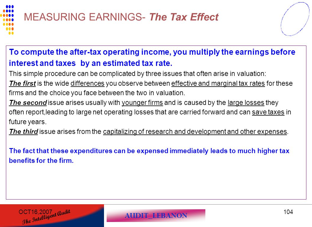 MEASURING EARNINGS- The Tax Effect