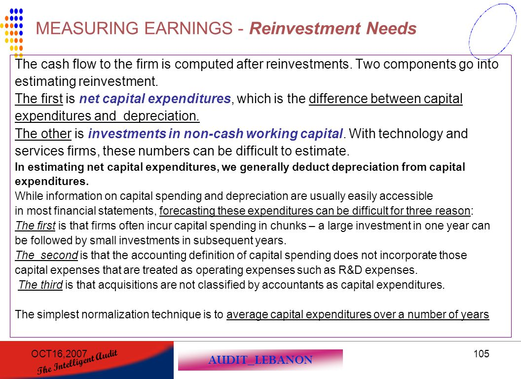 MEASURING EARNINGS - Reinvestment Needs