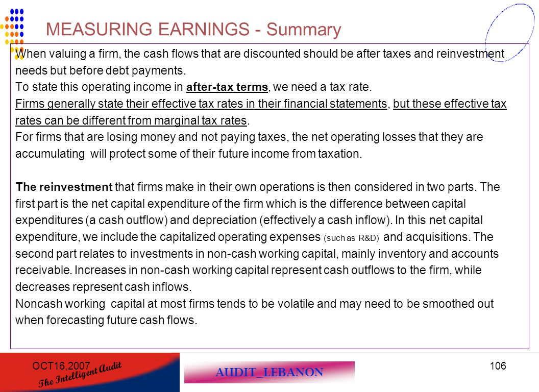 MEASURING EARNINGS - Summary