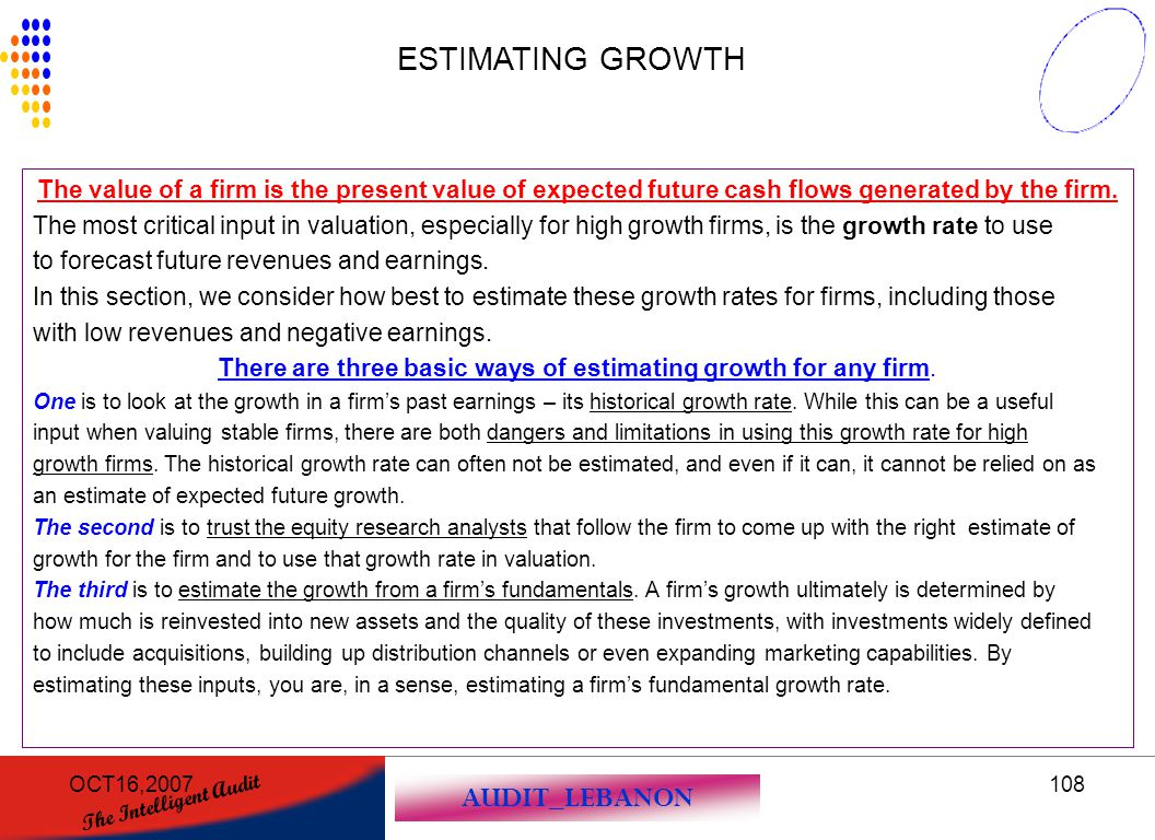 There are three basic ways of estimating growth for any firm.