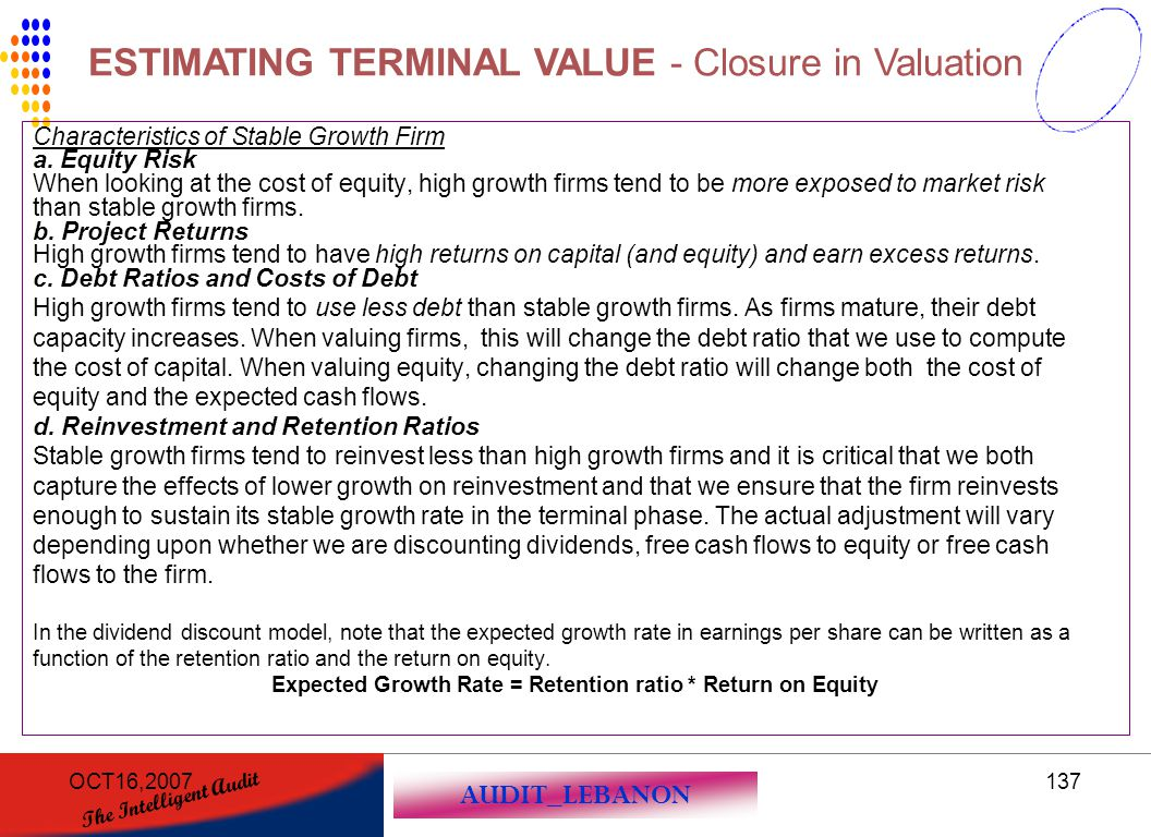 Expected Growth Rate = Retention ratio * Return on Equity