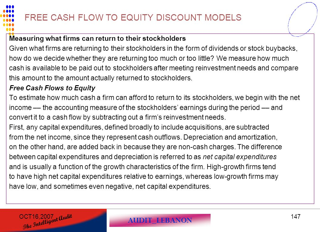 FREE CASH FLOW TO EQUITY DISCOUNT MODELS