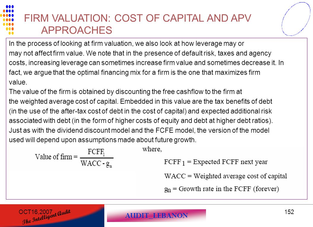 FIRM VALUATION: COST OF CAPITAL AND APV APPROACHES