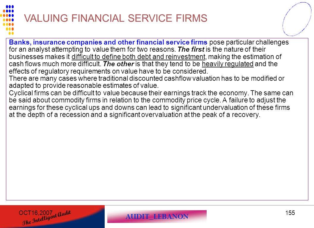 VALUING FINANCIAL SERVICE FIRMS