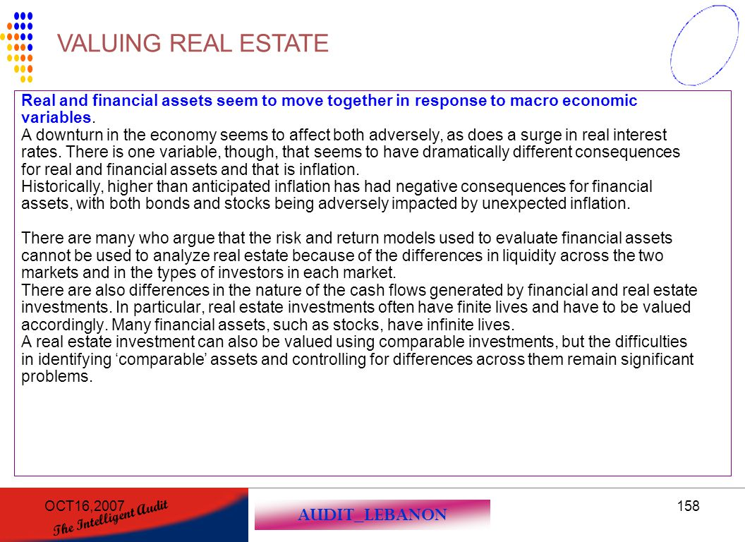 VALUING REAL ESTATE Real and financial assets seem to move together in response to macro economic. variables.