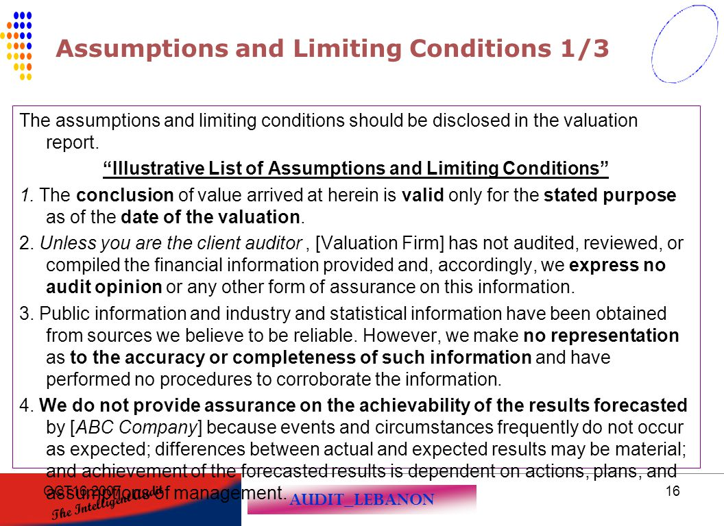 Assumptions and Limiting Conditions 1/3