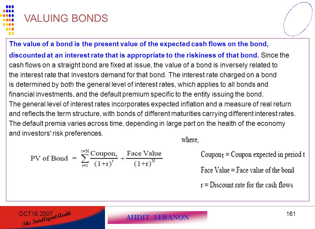 VALUING BONDS The value of a bond is the present value of the expected cash flows on the bond,