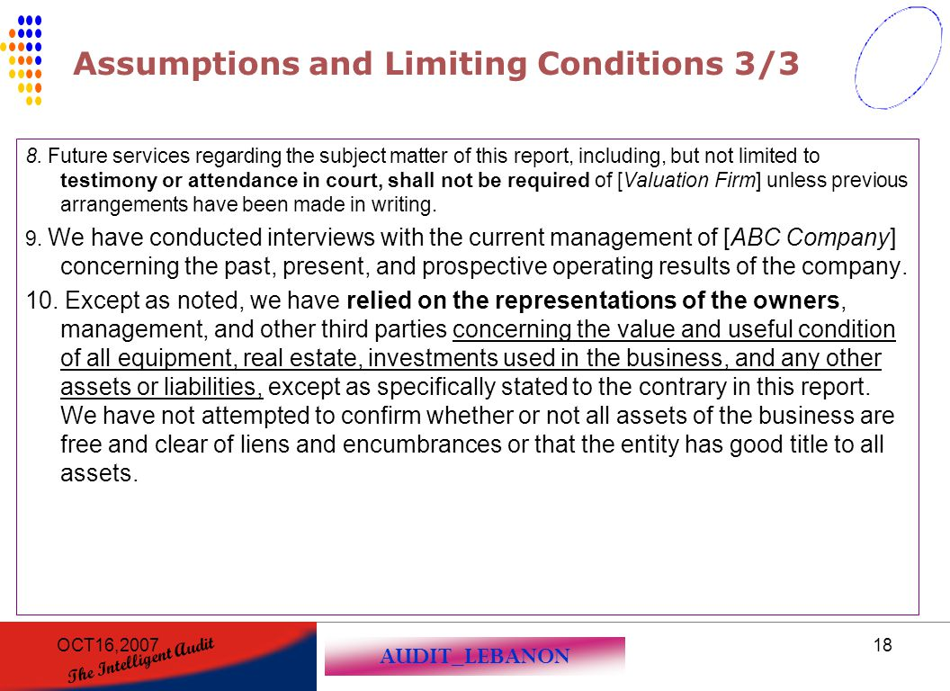 Assumptions and Limiting Conditions 3/3