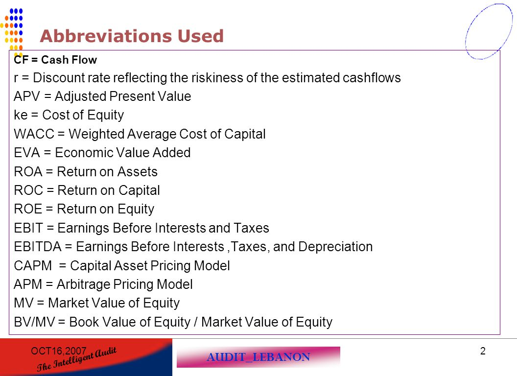 Abbreviations Used CF = Cash Flow. r = Discount rate reflecting the riskiness of the estimated cashflows.