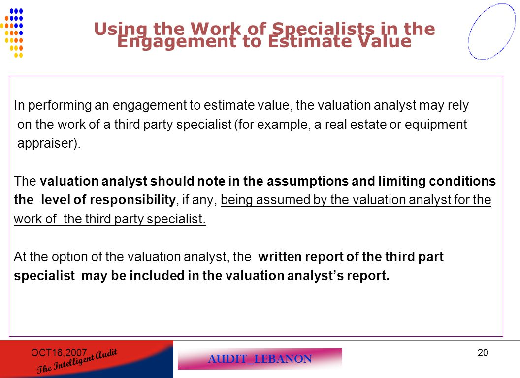 Using the Work of Specialists in the Engagement to Estimate Value