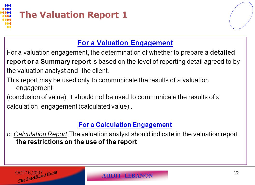 For a Valuation Engagement For a Calculation Engagement