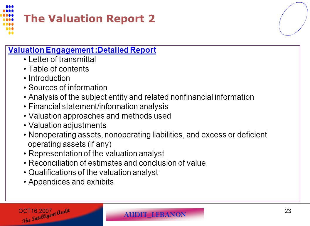The Valuation Report 2 Valuation Engagement :Detailed Report