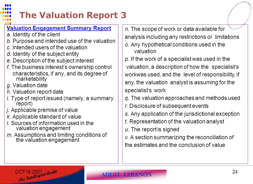The Valuation Report 3 Valuation Engagement Summary Report