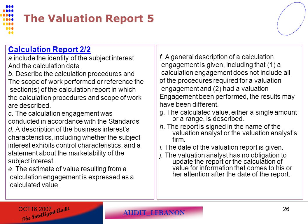 The Valuation Report 5 Calculation Report 2/2