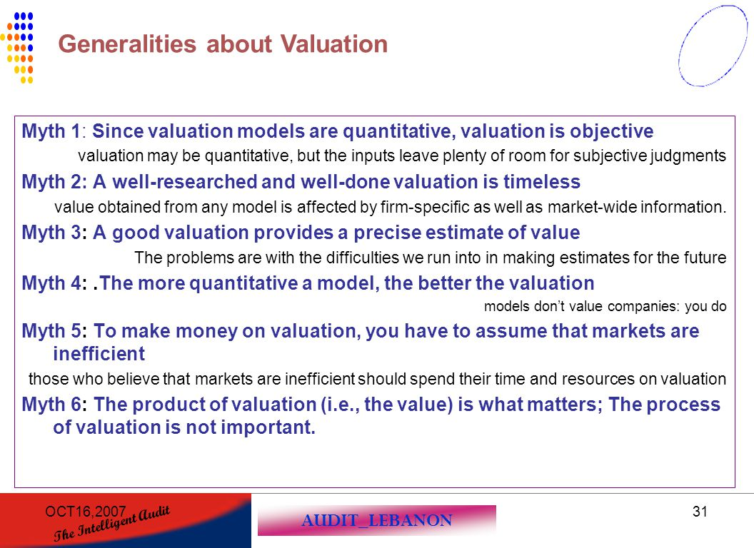 Generalities about Valuation