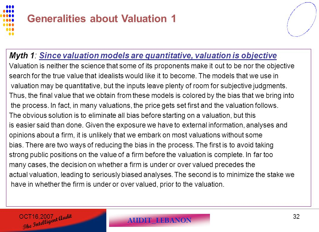 Generalities about Valuation 1