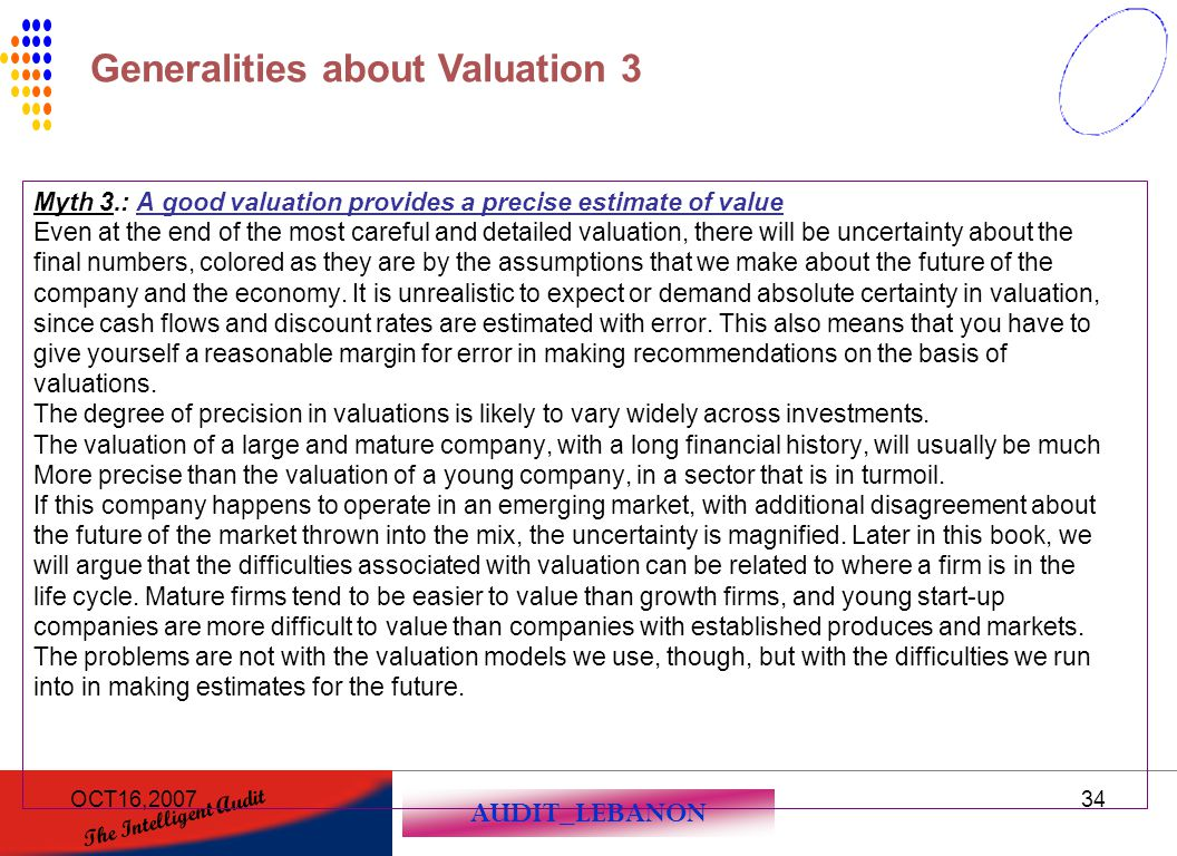 Generalities about Valuation 3
