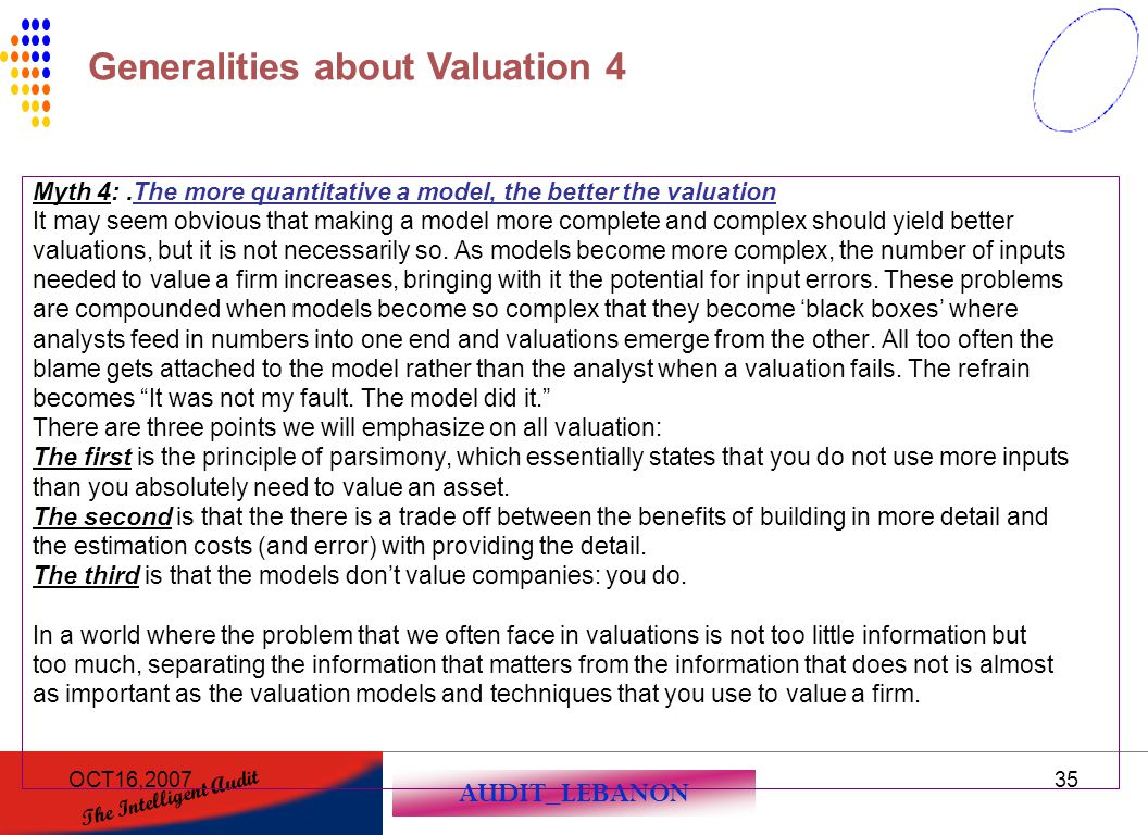 Generalities about Valuation 4