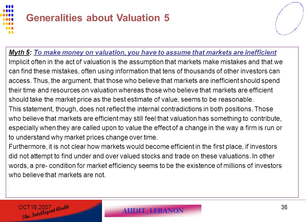 Generalities about Valuation 5