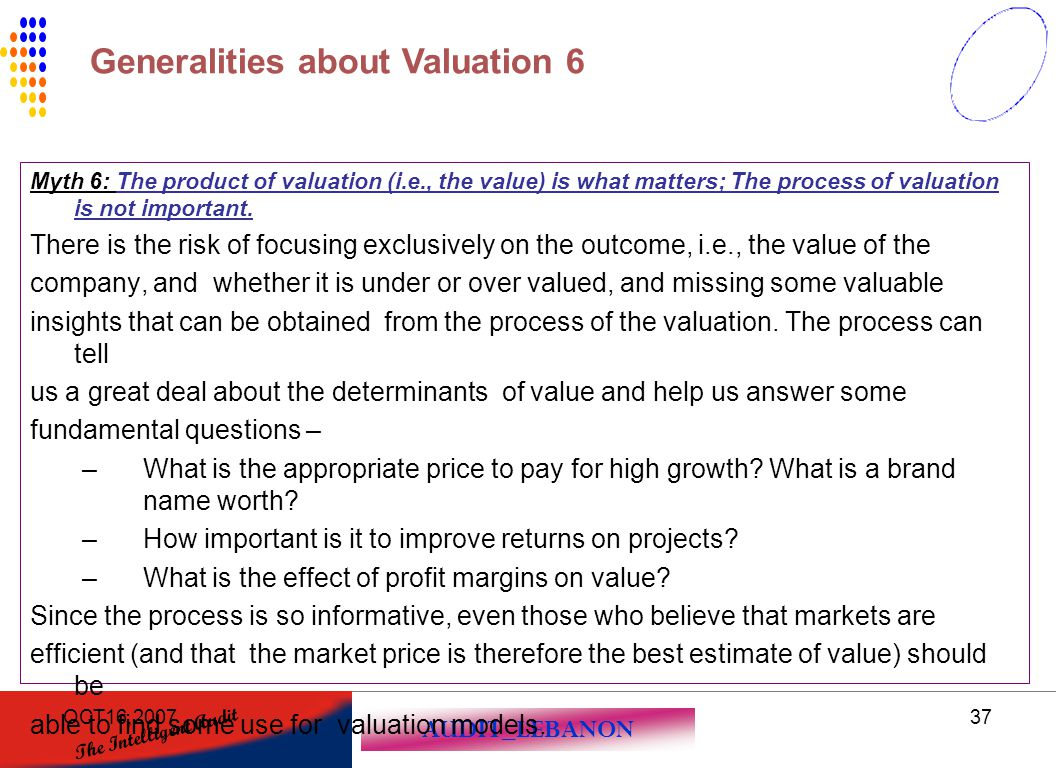Generalities about Valuation 6