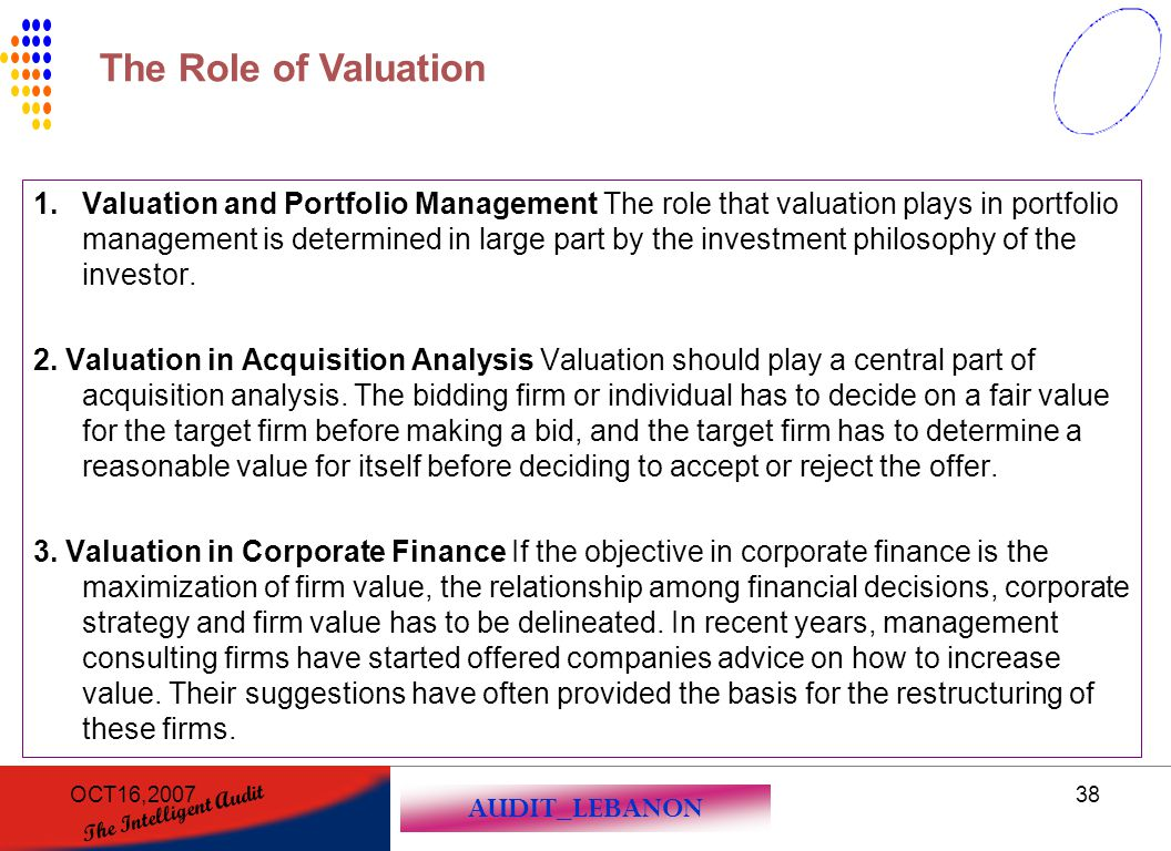 The Role of Valuation