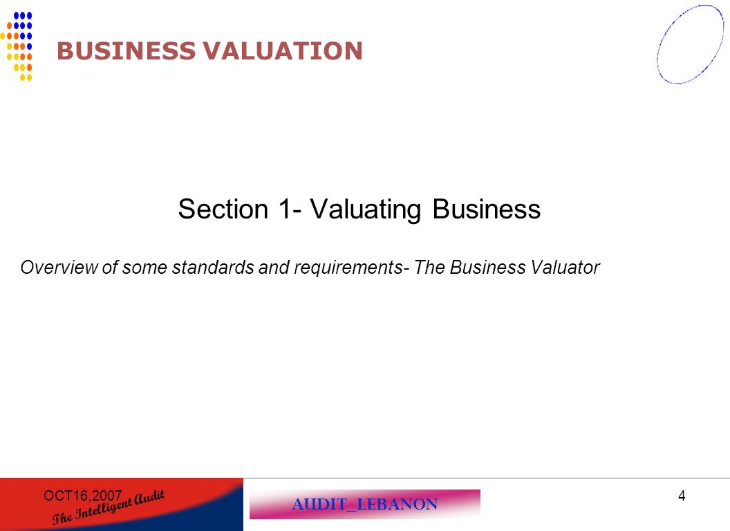 Section 1- Valuating Business