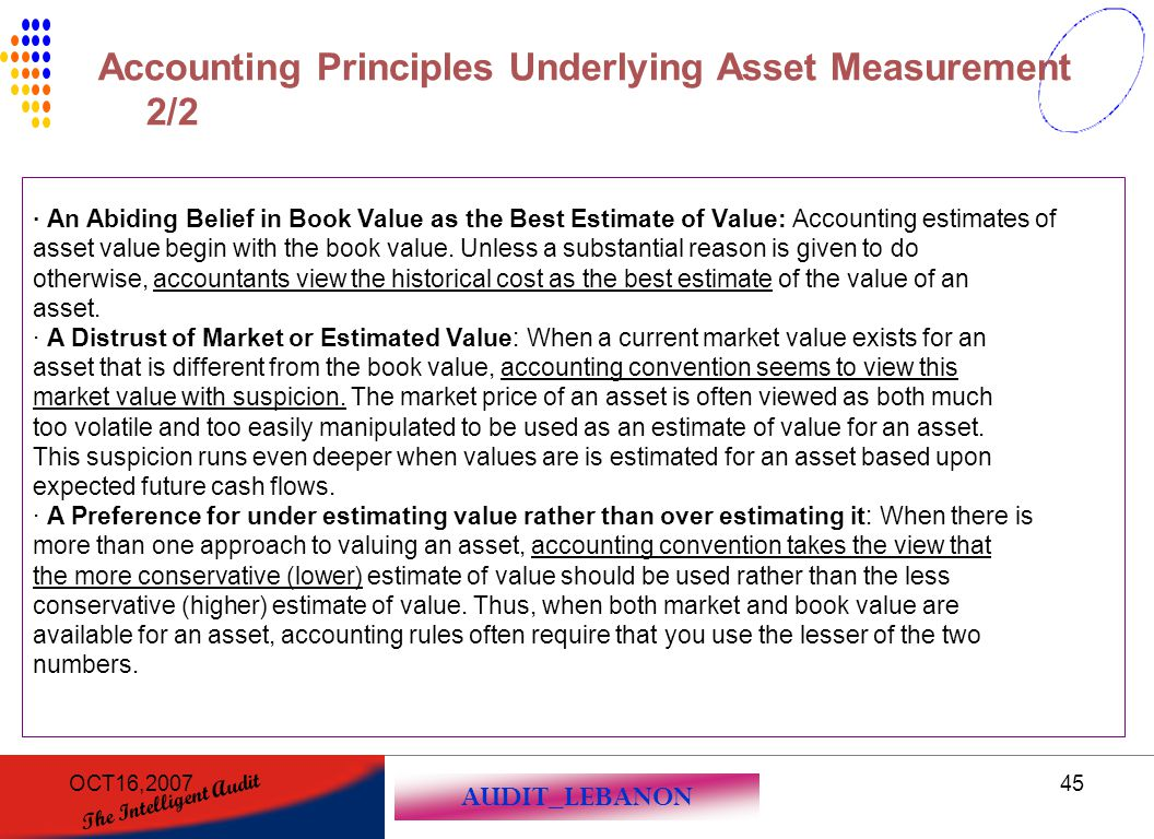 Accounting Principles Underlying Asset Measurement 2/2