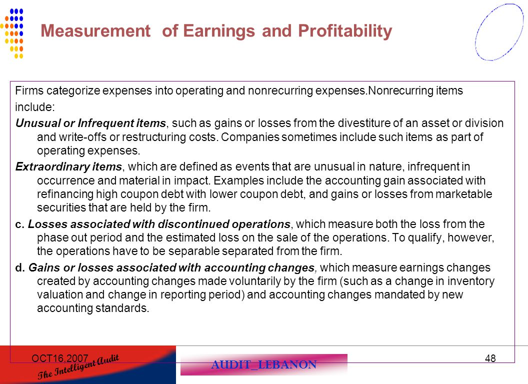 Measurement of Earnings and Profitability