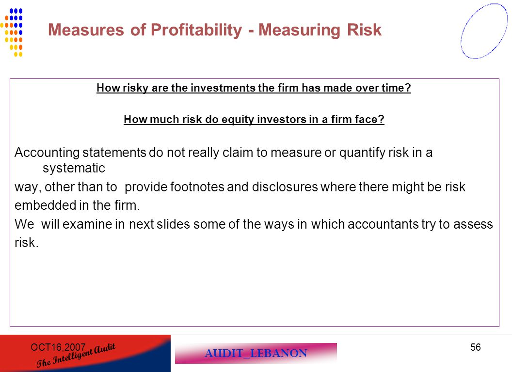 Measures of Profitability - Measuring Risk