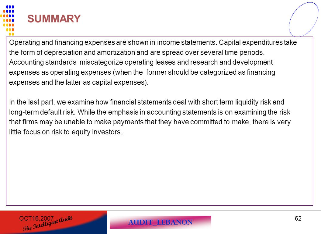 SUMMARY Operating and financing expenses are shown in income statements. Capital expenditures take.