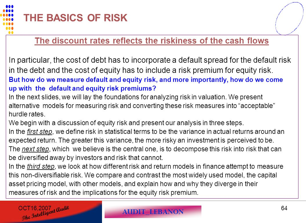 The discount rates reflects the riskiness of the cash flows