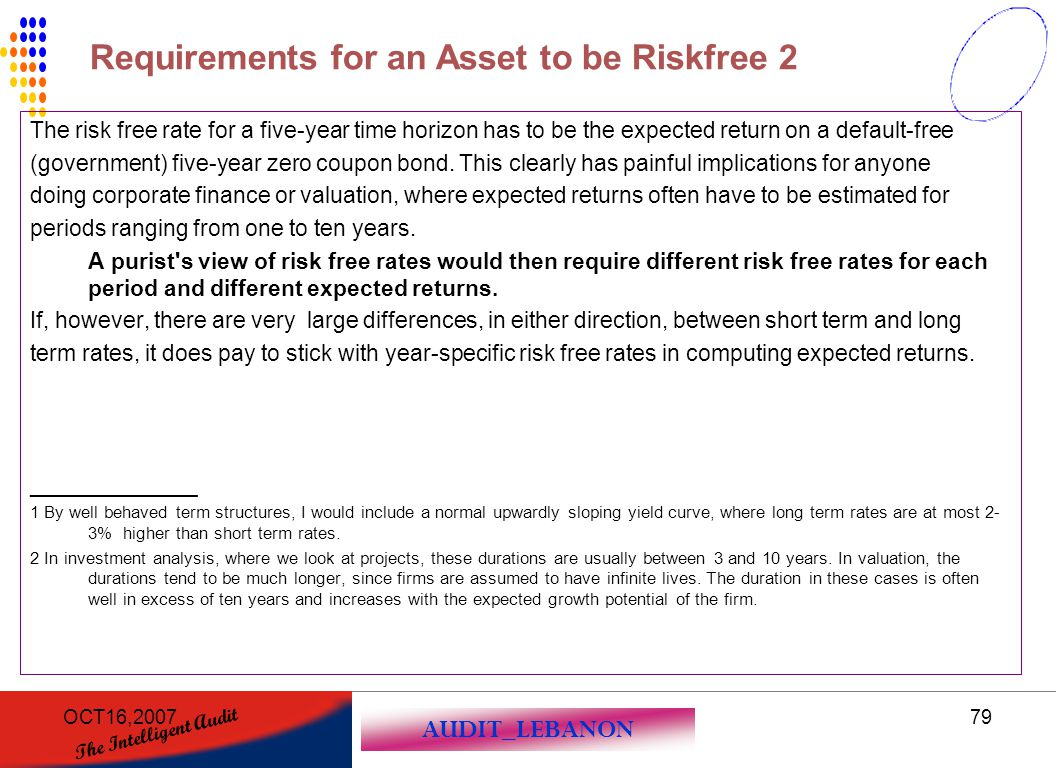 Requirements for an Asset to be Riskfree 2
