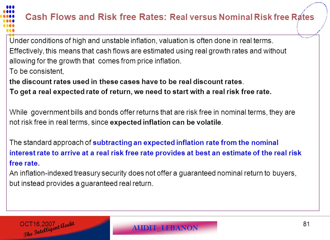 Cash Flows and Risk free Rates: Real versus Nominal Risk free Rates