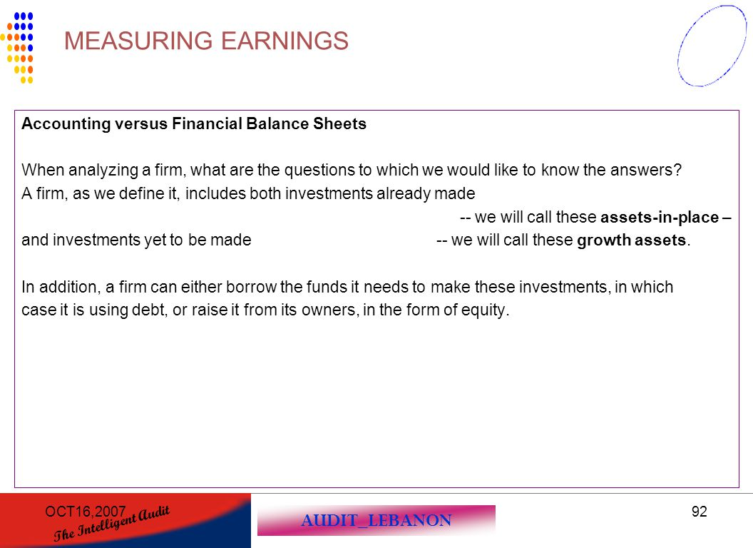 MEASURING EARNINGS Accounting versus Financial Balance Sheets