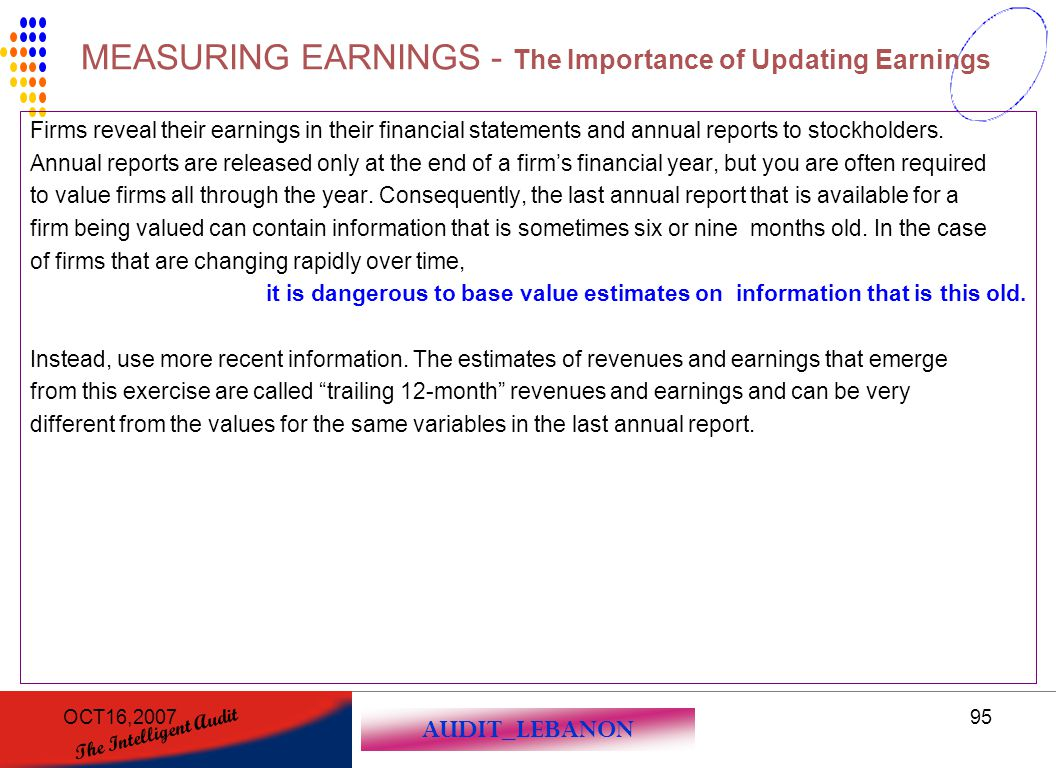 MEASURING EARNINGS - The Importance of Updating Earnings