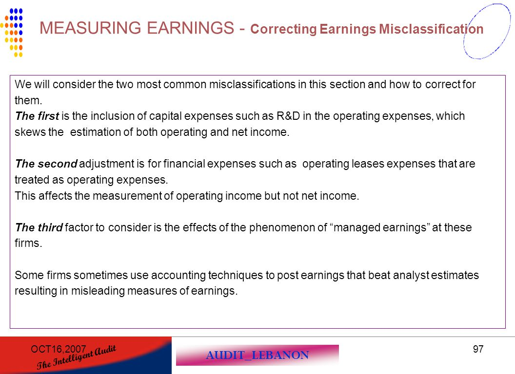 MEASURING EARNINGS - Correcting Earnings Misclassification