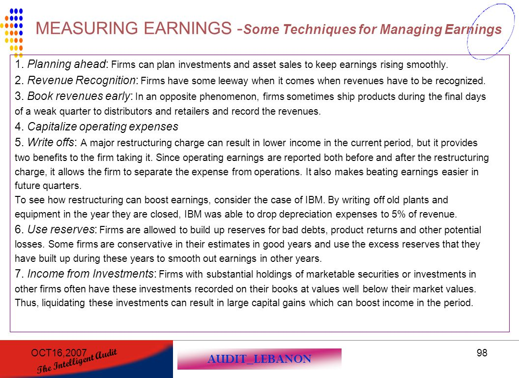 MEASURING EARNINGS -Some Techniques for Managing Earnings