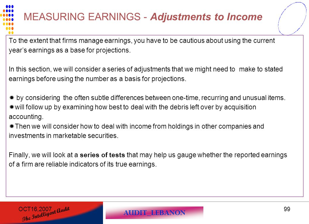 MEASURING EARNINGS - Adjustments to Income