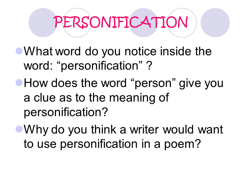 PERSONIFICATION What word do you notice inside the word: personification