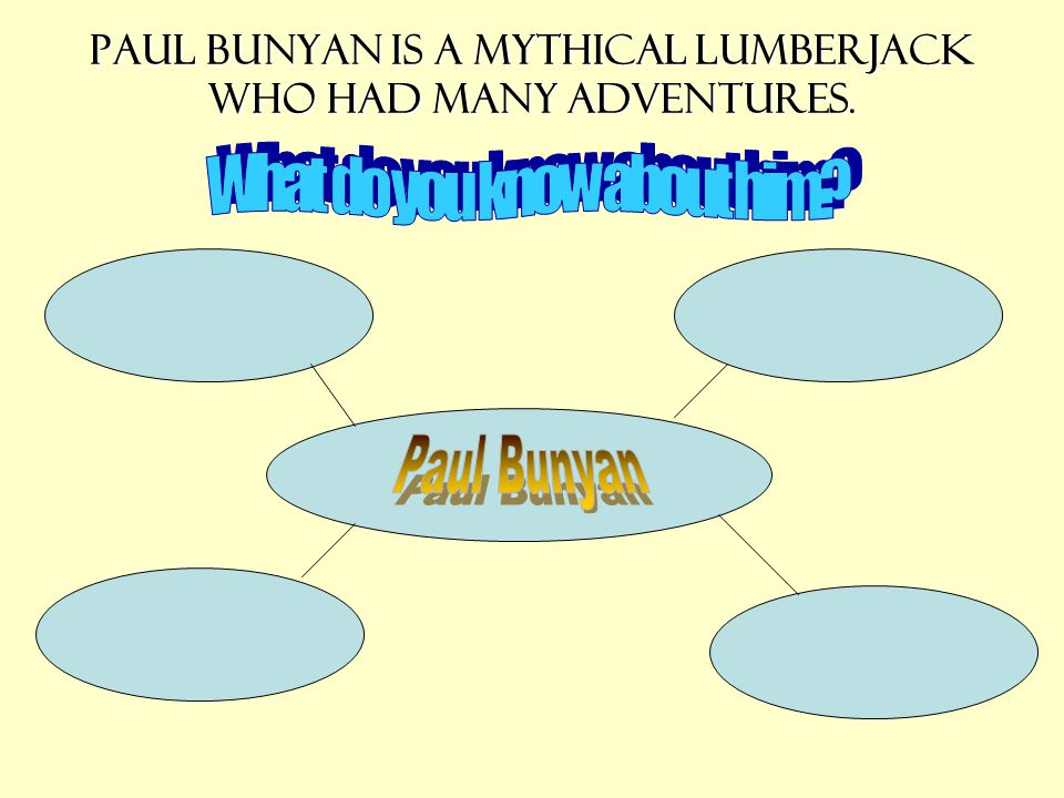 Paul Bunyan is a mythical lumberjack who had many adventures.
