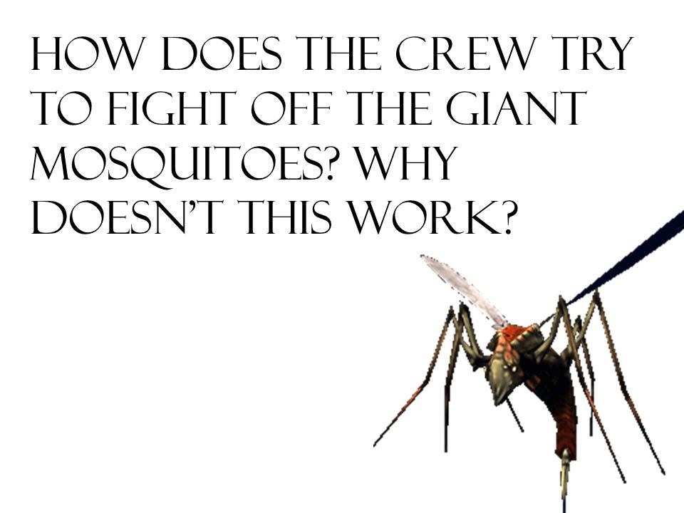 How does the crew try to fight off the giant mosquitoes