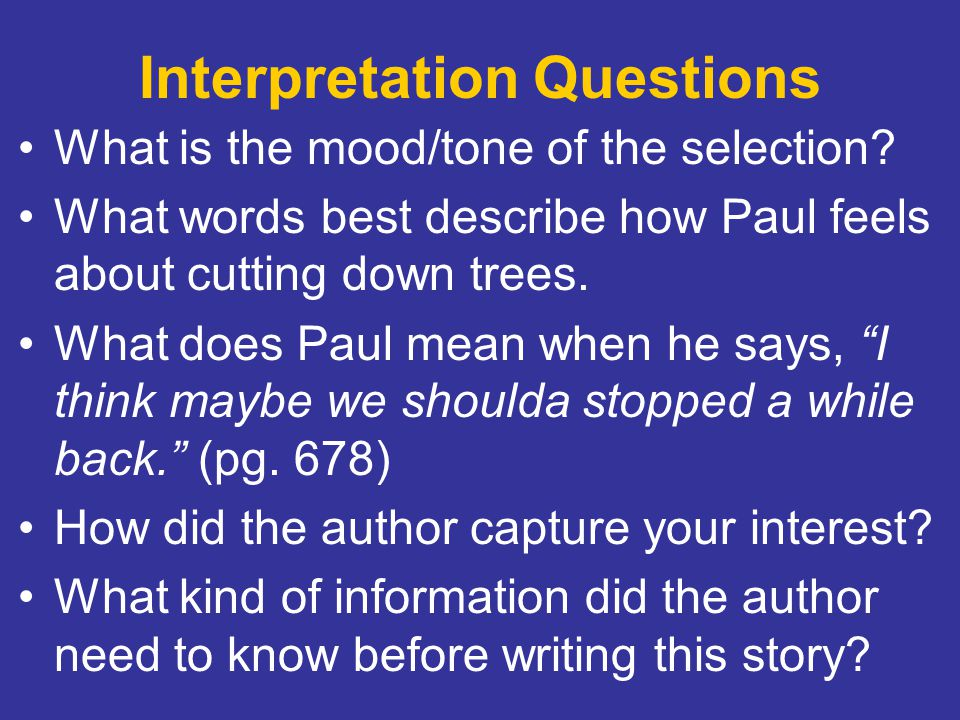 Interpretation Questions