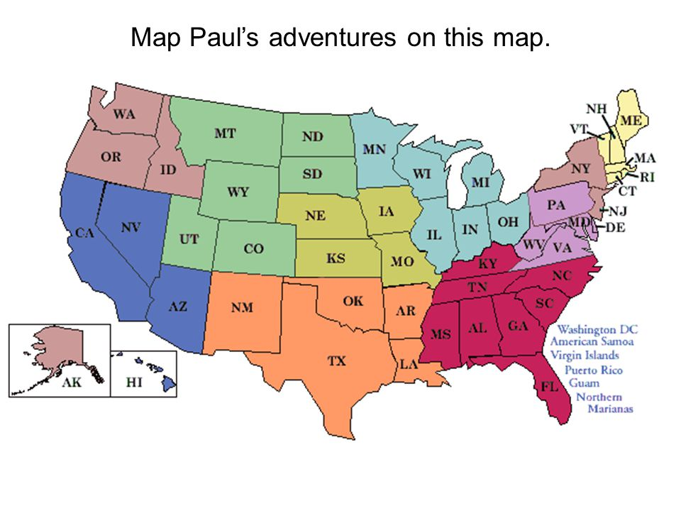 Map Paul's adventures on this map.