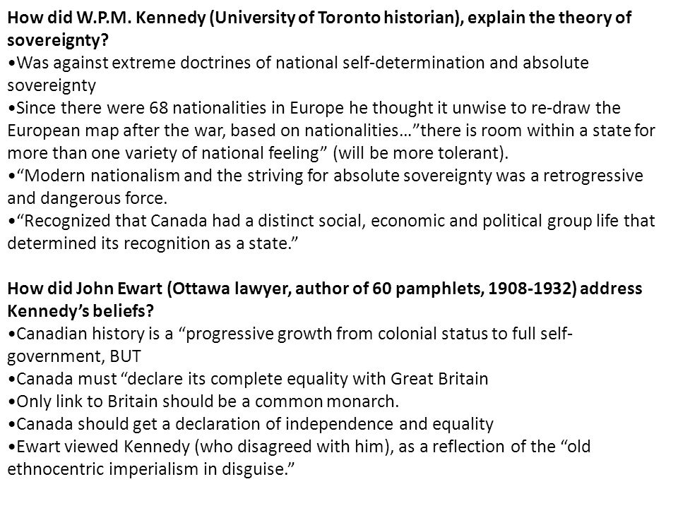 How did W.P.M. Kennedy (University of Toronto historian), explain the theory of sovereignty