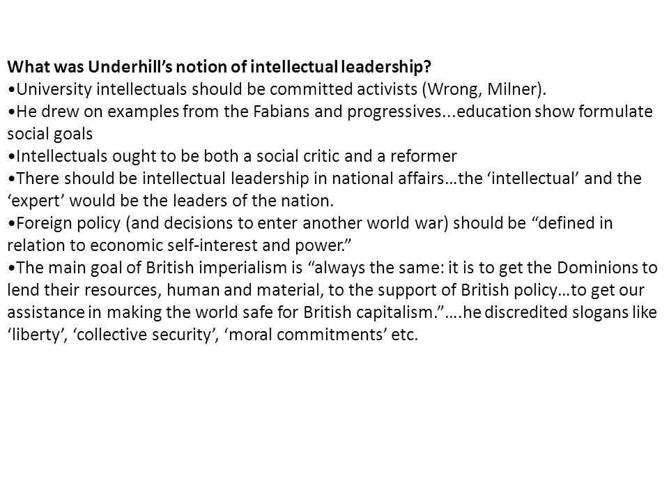 What was Underhill's notion of intellectual leadership